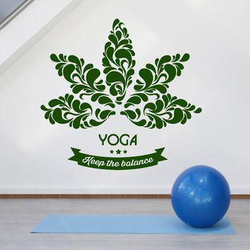 Vinyl Wall Decal Lotus Flower Yoga Center Logo Quote Words Stickers (2761ig)