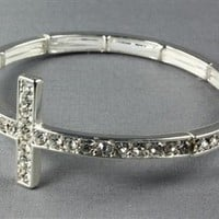 Rhinestone Cross Bracelet Silver | Appealing Boutique