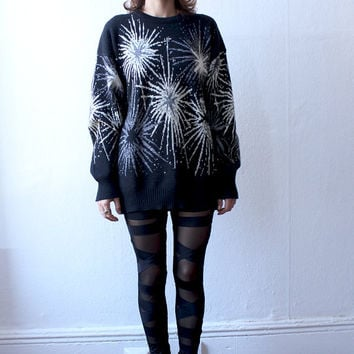 80s FIREWORKS EXPLOSION Pop Art Chunky Knit Oversized Wool Sweater  L