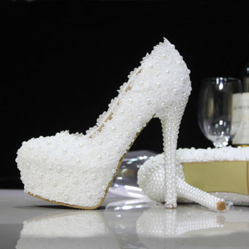 Lace Up Bead White Rhinestone High Stilettos Heels Spring Wedding Prom Dress Party Occasions Pumps Shoes