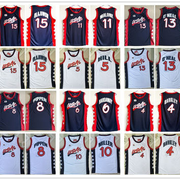 New arrivals Stitched 1996 Atlanta USA dream team Anfernee Hardaway Hakeem Olajuwon Charles Barkley basketball jerseys