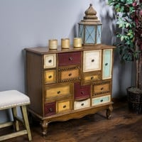 Leo Multicolor Wood Chest of  Drawers Cabinet Dresser
