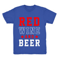 Red Wine And Beer, July 4th Shirt Graphic Tshirt For Men & Women, Womens Graphic Tee, Metallic Gold, Glitter, Neon Print