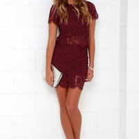 Turn Back Time Burgundy Lace Two-Piece Dress