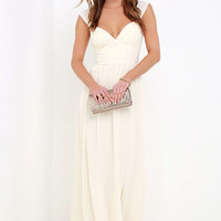 Star's Luster Cream Maxi Dress