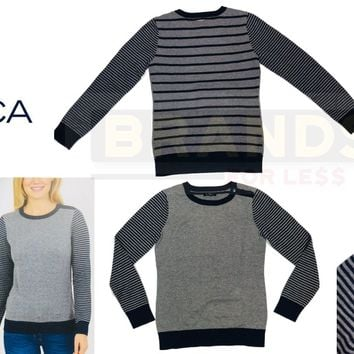 ✅NEW! Nautica Womens Pullover 3 Button Accent Sweater, SMALL Navy/Grey