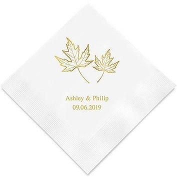 Fall Leaf Printed Paper Napkins (Sets of 80-100)