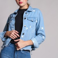 Star Embroidered Jean Jacket