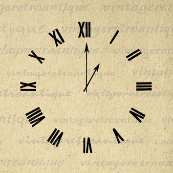 Clock Face with Hands Printable Graphic Download Image Digital Illustration Vintage Clip Art for Transfers Printing etc HQ 300dpi No.2111