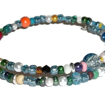Plus Size Elegance Mixed Glass Beaded Artisan Crafted Stackable Wrap Bracelet (L-XL)