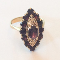 Garnet Ring Engagement RIng ITALY 18K Gold Ring Victorian Jewelry