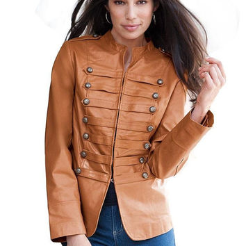 Handmade women brown leather jacket with front button leather jacket,women biker leather jacket