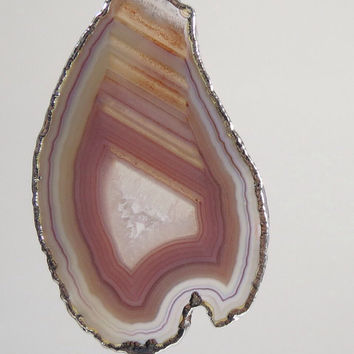 Agate Slice Sterling Silver Edged Druzy Agate Pendant