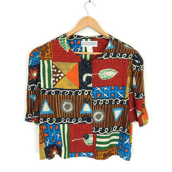 Vintage 90s Colorful Abstract Print Women's Blouse - Size 14 - Button Up Short Puff Sleeve Crop Top - Red Black Brown 90s Shirt - Large