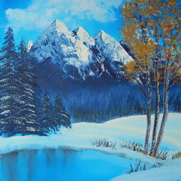 ORIGINAL WINTER Wonderland Acrylic Painting on CANVAS 16 X 20 with lake mountains trees snow Snowcap Landscape Firs Pines Winter Scenic Art