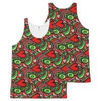 Love and Hearts Doodles Pattern All-Over-Print Tank Top