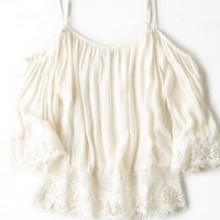 AEO Women's Lace Off-the-shoulder Shirt (Cream)