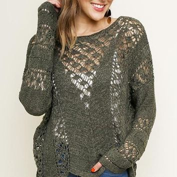 Crochet Knit Pullover Sweater in Olive