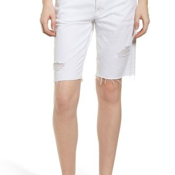 7 For All Mankind® Distressed High Waist Straight Leg Bermuda Shorts (White Fashion 4) | Nordstrom