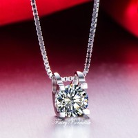 1 Carat Solitaire Pendant Necklace, Dainty Floating Necklace, Everyday Layering Necklace, Bridesmaid Necklace, 6.5 mm Man Made Diamond