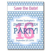 Save the Date Sweet 16 Birthday Party V001E BLUE Postcard