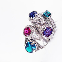 Antique Filigree Ruby Ring in White Gold // Kashmir Antique Replica Synthetic Gemstone Jewelry, Vintage Style Ruby Ring