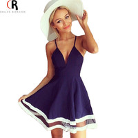 Sleeveless Spaghetti Strap Cami V Deep Neck Mesh Insert Stripes A Line Skater Casual Beach Dress 2 Colors 2015 Summer Fashion