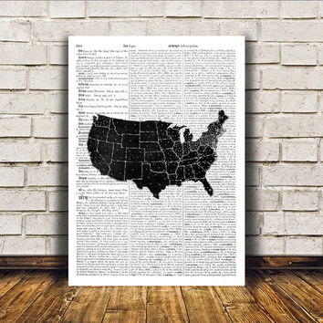 USA map poster Antique art Wall decor Vintage print RTA82