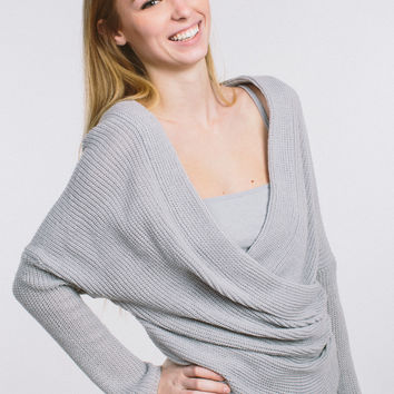 Easy Going Off The Shoulder Sweater - Grey
