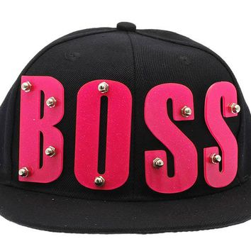 Black Boss Snapback Hat And Cap