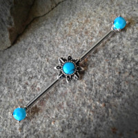 Turquoise Sun with Prong Set Ends Industrial Barbell 14ga Surgical Stainless Steel