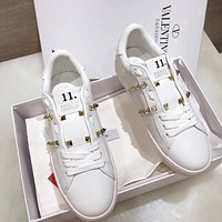 Valentino New Trending Woman Leisure Rivet Sport Shoes Sneakers White I-AHD-HNXG-ZD