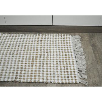 Grid Pattern Jute/Recycle Cotton Cutting Monterey Chindi Rug, Ivory