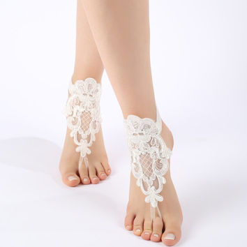 Free Ship ivory flexible ankle sandals,  laceBarefoot Sandals, french lace, Beach wedding barefoot sandals