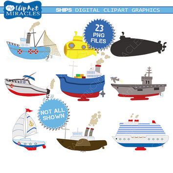 Ship clipart, nautical theme clip art,  Instant download sailing boat graphics / personal and commercial use