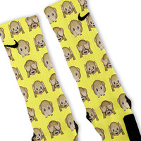 Yellow Monkey Emoji Custom Nike Elite Socks