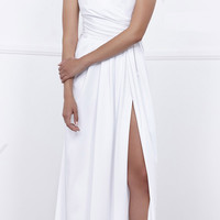 Ruched Satin V-Neck Long Evening Gown Front Slit White