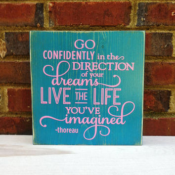 Gift for Graduation Distressed  Sign Go Confidently  Teens Office Studio College Dorm
