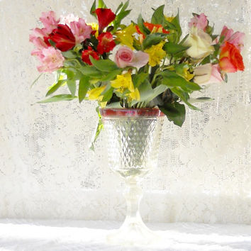 Vintage Ruby Flashed Diamond Point Footed Candy Jar, Hollywood Regency, Indiana Glass, Vase,Wedding, Ca. 1950's-1970's