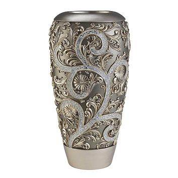 Elegant silver vine design decorative flower vase
