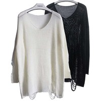 Women's Batwing Sleeve Destroyed Ripped Slouchy Sweater Pullover Hollow Out Loose Fit Jumper Tops Knitwear