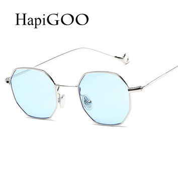 HAPIGOO Fashion Brand Designer Vintage Men Square Sunglasses Women 2017 New Sun Glasses For Female Optical Clear Glasses Ladies