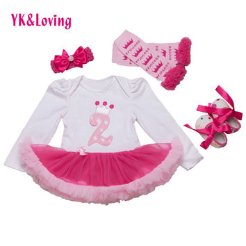 Infant Newborn Christmas Cute Kids Baby Girl Clothes 4Pcs Pink Minion Long-Sleeve Tutu Dress 1st Birthday Gifts Outfits 2015 New