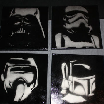 Star Wars stencil spray painted SET