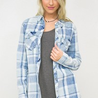 Faded Plaid Button Down Shirt