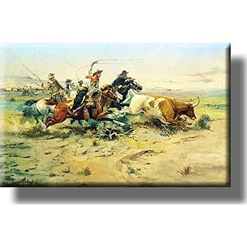 Vintage Cowboy Bull Catch Rodeo Picture on Stretched Canvas, Wall Art Decor, Ready to Hang!