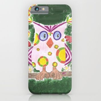 Light pink owl with green background iPhone & iPod Case by ICraftCafé