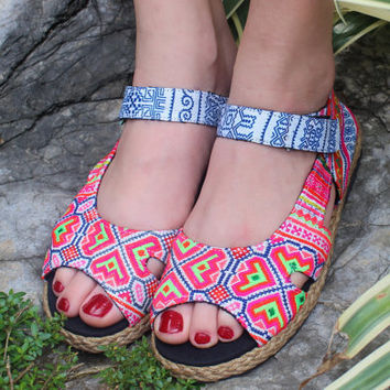 Womens Espadrille In Colorful Hmong Embroidery Open Toe Mary Jane  Flat Vegan Womens Shoe