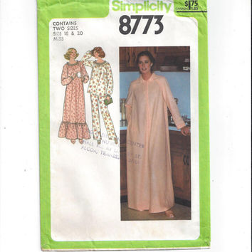 Simplicity 8773 Pattern for Misses' Nightgown, Pajamas, Robe, Size 18-20, From 1978, Long Robe, Gown, Vintage Pattern, Home Sewing Pattern