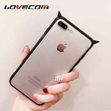 LOVECOM Fashion DIY 3D Horns of the devil Soft TPU Transparent Black Frame Phone Cover Case Coque For iPhone 7 6 6S Plus Cases